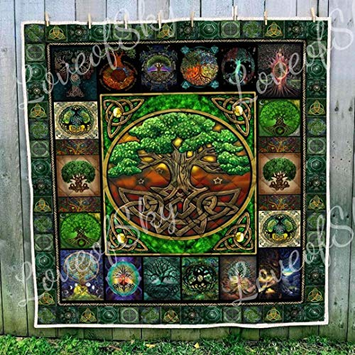 Green Celtic Tree of Life Power of The Nature - All Season Quilt, Blanket - Soft and Cozy