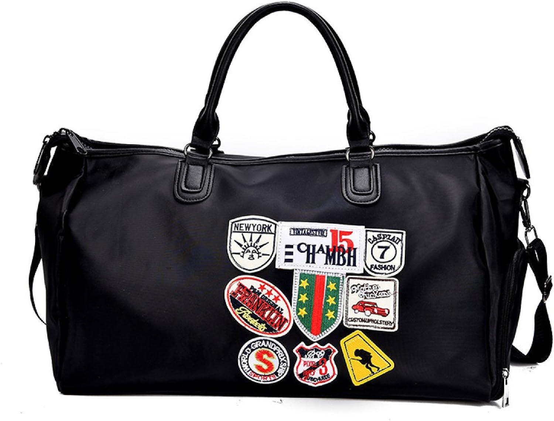 GEXING Kurze Reisetasche Weibliche Hand Gepcktasche Mnnlichen Koreanischen Groraum-Abzeichen Reisetasche Licht Schuhe Fitness Tasche Gezeiten,schwarz-43  22  30cm