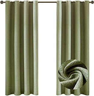 Nicasso Textured Basics Solid Blackout Room Darkening Grommet/Eyelet Top Window Curtains Panels Thermal Insulated Draperies for Bedroom(Single Panel,W52 x L63,Green)