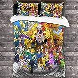 yongxing Anime Digimon - Juego de ropa de cama de 3 piezas con 1 funda nórdica y 2 fundas de almohada, ropa de cama de microfibra suave para hombres y mujeres
