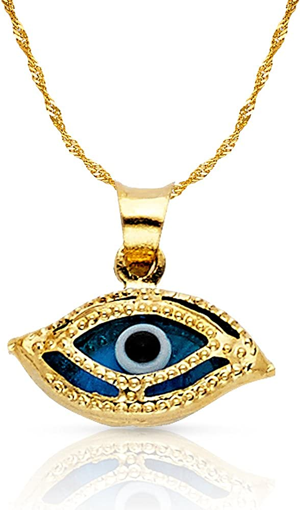 14K Yellow Gold Evil Eye Charm Pendant with 0.9mm Singapore Chain Necklace