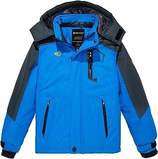 Wantdo Boy`s Waterproof Ski Fleece Jacket Thick Winter Coat Hooded Raincoats
