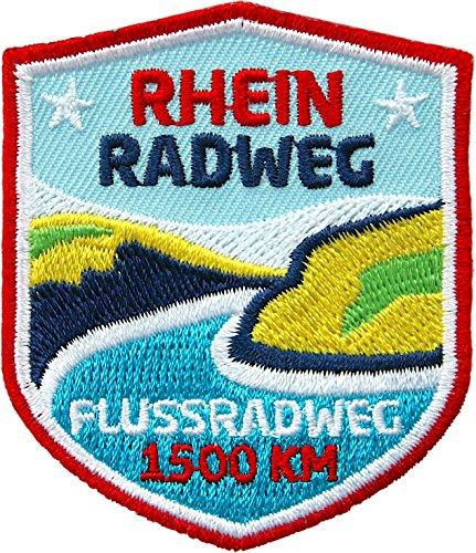 Club of Heroes 2 x Abzeichen 51 x 60 mm/Rhein Radweg für Fahrrad MTB/Applikation Aufnäher Aufbügler Flicken Sticker Bügelbild Patch für Kleidung Tasche Rucksack/Radführer Radkarte Radtour