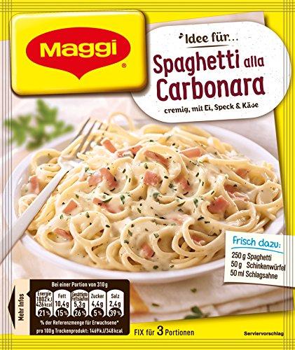 Maggi Fix für Spaghetti alla Carbonara , Nudeln mit Schinken und Sahnesauce, 1er Pack (1 x 34g)