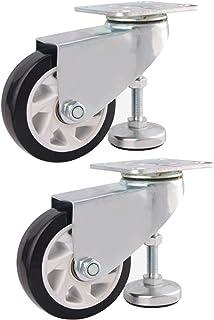 YJJT Industriële wielen, polyurethaanwielen, met steunvoeten, verstelbare hoogte, corrosie- en roestbestendigheid, 2, 3, ...