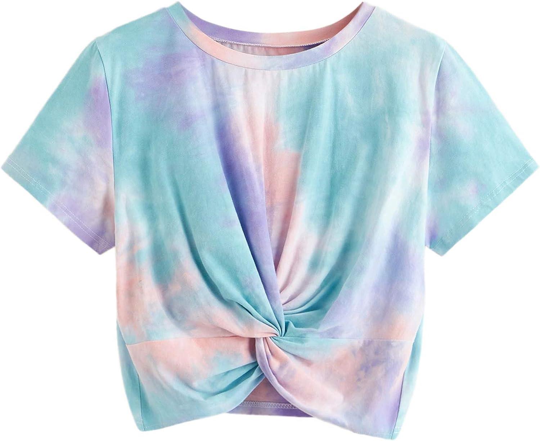 80s Tops, Shirts, T-shirts, Blouse   90s T-shirts SweatyRocks Womens Casual Twist Front Short Sleeve Crop Top T-Shirt  AT vintagedancer.com