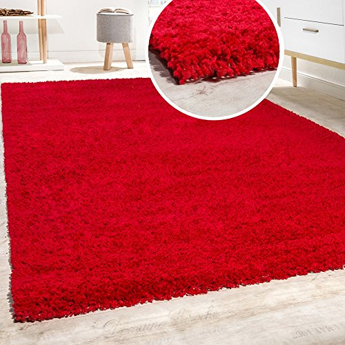 Paco Home Hochflor Shaggy Langflor Teppich versch. Farben u. Grössen TOP Preis NEU*OVP, Farbe:Rot, Grösse:70x140 cm