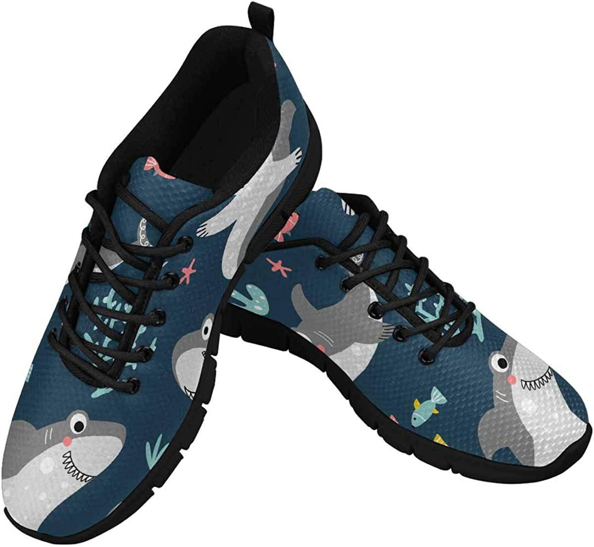 InterestPrint Friendly Smiling Sharks and Fishes Women's Athletic Mesh Breathable Casual Sneaker