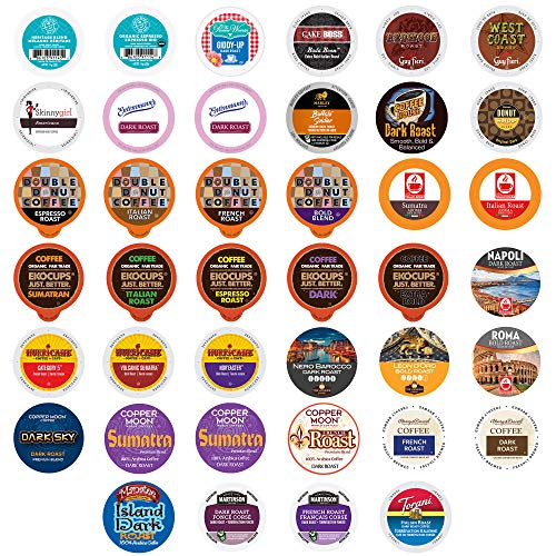 Perfect Samplers Dark Roast Coffee Pod Variety Pack - Dark, Strong, and Bold Coffee in a Bulk Sampler Pack for Keurig K Cups Coffee Makers , 40 Pack - No Duplicates