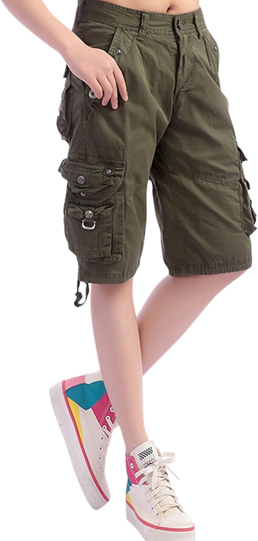 chouyatou Women's Casual Loose Fit Multi-Pockets Twill Bermuda Cargo Shorts