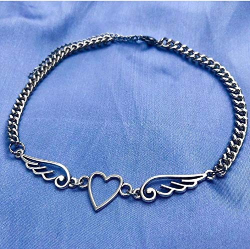ghn Chain Necklaces New Punk Hollow Out Heart Feather Metal Choker Necklace For Women Girl Hip Hop Harajuku Angel Pendant Necklace Trendy Jewelry Jewelry & Accessories
