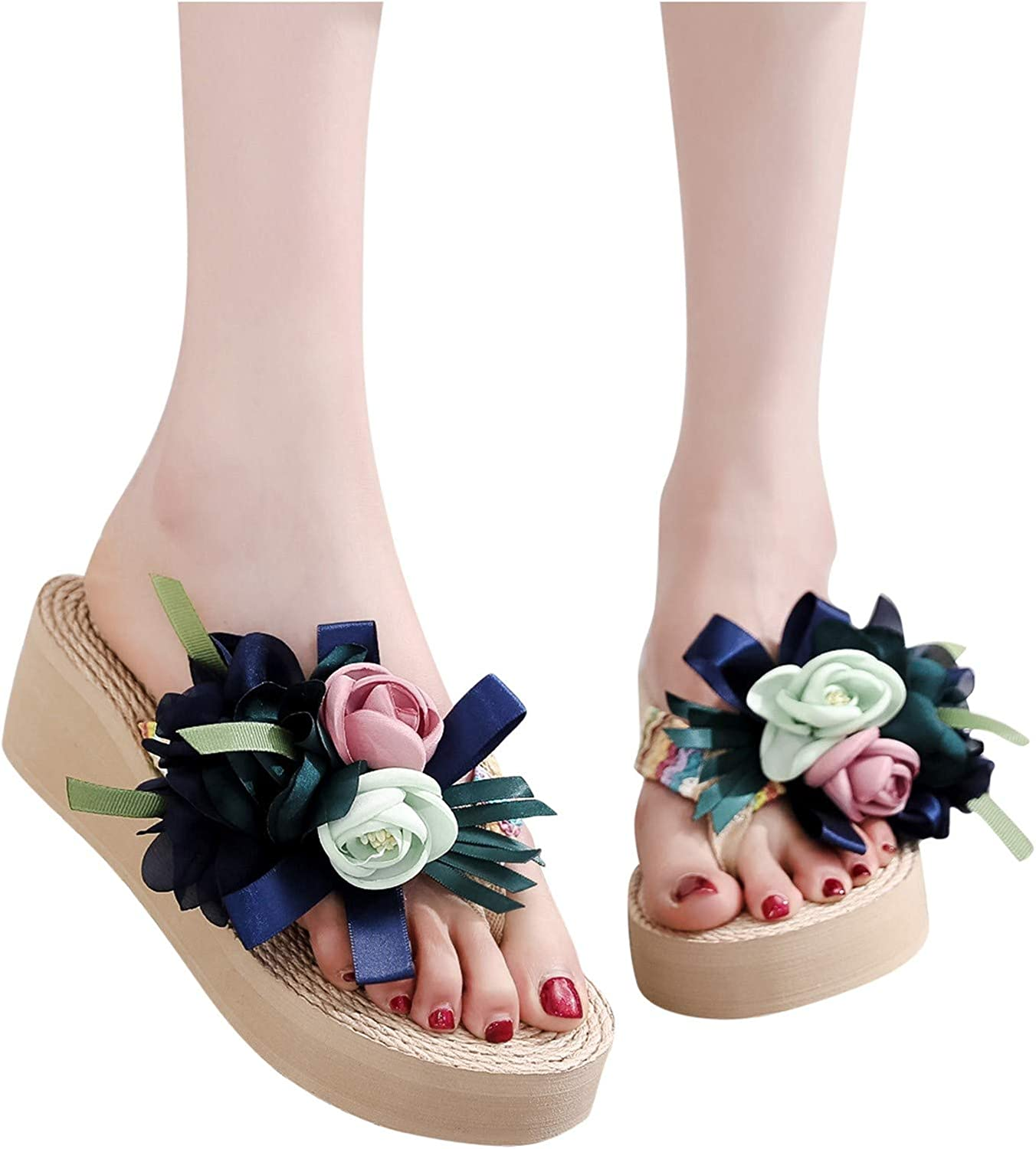 Hgndbloo Casual Floral Max 51% OFF Slippers for Flip Beach Sales for sale Summer Flop Women