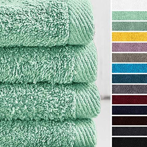 Lumaland Premium 4er Set Handtücher 50 x 100 cm aus 100% Baumwolle 500 g/m² mit Aufhänger eisblau