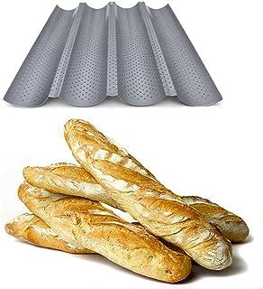 Plaque de cuisson moule pour 4 baguettes - Anti-adhésif - Plaque à pain perforée - Réversible pour biscuits et tuiles aux ...