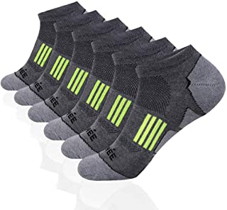JOYNÉE Men's 6 Pack Athletic No Show Performance Cushioned Low Cut Running Socks