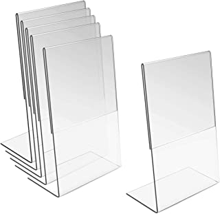 Oruuum 6 Pcs Acrylic Sign Holder L-Shape Menu Display Stand Poster Holders for Display Picture Holder Stand - 10x15cm