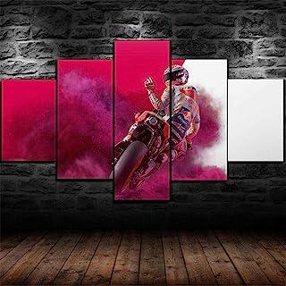 147Tdfc Cuadros Decoracion Salon Modernos Murales Dormitorios Fondo Pared 5 Piezas Lienzo XXL Grande Enmarcado Hogar Decora Motogp 2019 Moto Carreras Moto HD Impresión Cuadro