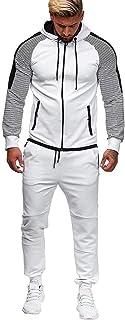 2021 Mens Outfits Tracksuit 2PCS Set Patchwork Sweatshirt Jogger Sweatpants Winter T-Shirts Shorts Sports Suits