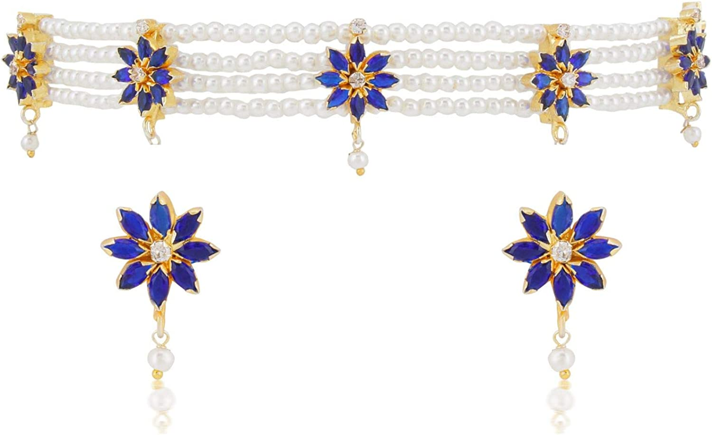 Efulgenz Fashion Jewelry Gold Plated Blue CZ Stone Faux Pearl Bridal Wedding Collar Choker Necklace Earings Set