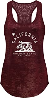 Tough Cookie's Women's Burnout Tank Top California Golden State Surf Bear Print