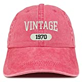 Trendy Apparel Shop Vintage 1970 Embroidered 50th Birthday Soft Crown Washed Cotton Cap - Red