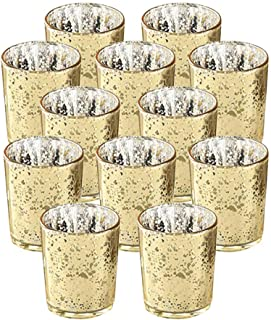 SUPREME LIGHTS ·2017· NEWLIGHTURE Votive Candle Holders Set of 12, Mercury Glass Tealight Holders Bulk, Speckled Gold, for...