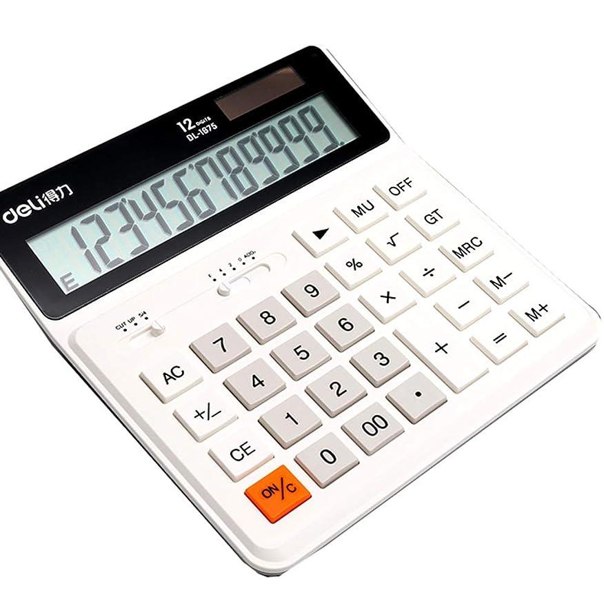 混雑カップル物理デスクトップ電卓、学生/オフィス/ファイナンスビッグボタン12ビットデジタルディスプレイデュアルパワー電卓、ビジネス標準機能デスクトップ電卓
