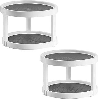 """Fhdpeebu Lot de 2 étagères de rangement antidérapantes pour placard, 2 niveaux, rotation à 360 °, écran de 10"""", blanc/gris"""