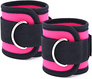 Fitness Ankle Straps, Ankle Workout Strap for Gym Machines Exercise, 2 PCS Adjustable D-Ring Resistance Band Fitness Ankle...