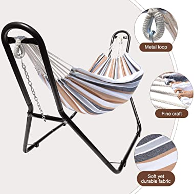 Zupapa Hammock with Stand Heavy Duty 550 Pounds Capacity, 2 Person Double Hammock for Indoor Outdoor Use, 2 Storage Bags Incl