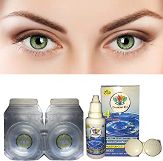 255c3f5d0022 Gold Look Diamond Eye Green Color Contact lens With Case and Solution  Monthly 1 Pair