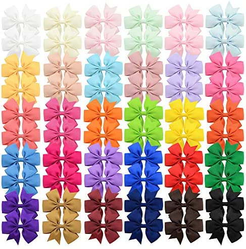 60Pcs 3 inch Solid Color Grosgrain Ribbon Baby Girls Hair Bows Alligator Clips Hair Accessories product image