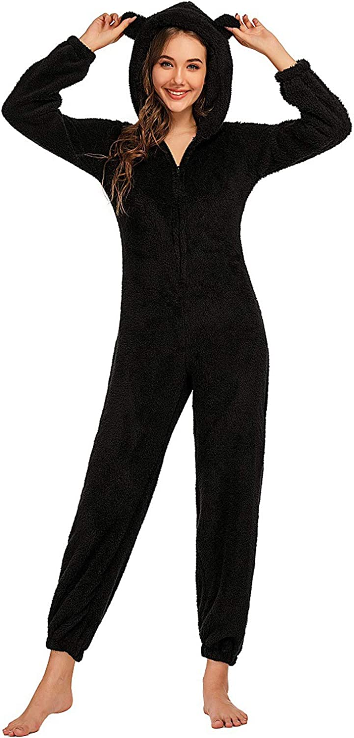 All stores are sold chouyatou Women's Ultra Comfy Lounge Omaha Mall Furry Romper Onesie Sherpa