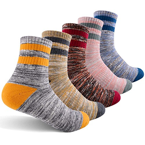 Women's Hiking Walking Socks, FEIDEER Multi-pack Outdoor Recreation Socks Wicking Cushion Crew Socks(5WS18105-M)