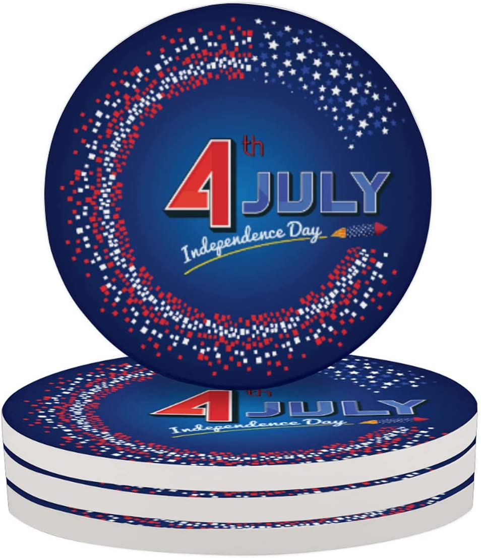 Round Drink Coasters 4 Piece July 4th Absorbent Coaste Polka High quality Sales Dot