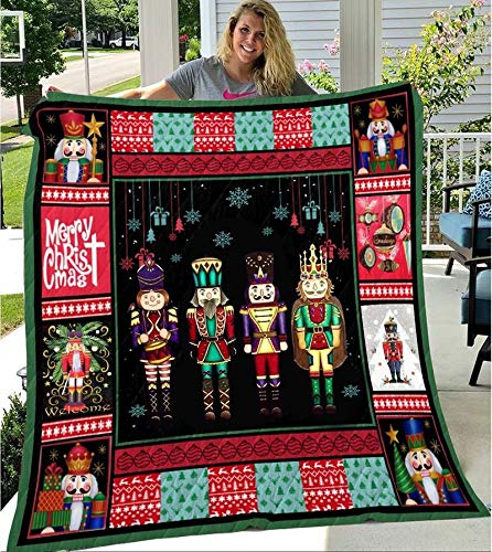Nutcracker Merry Christmas All Season Quilts Blanket Comforters Super King - Queen - Twin Size - Best Decorative for Bed, Couch, Sofa, Chair, Swing, Daybed, Home Decor
