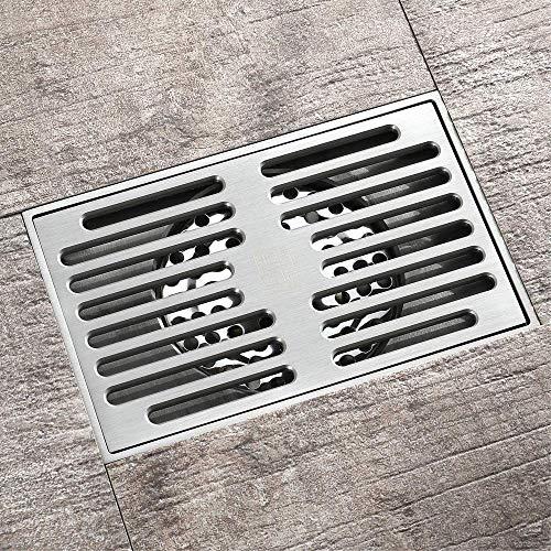 DYR Messing Duschablauf für Familie Badezimmer Toilette Küche Balkon Spezielle geruchsneutrale Badewanne Ablaufboden, 140 x 90 mm, gebürstet