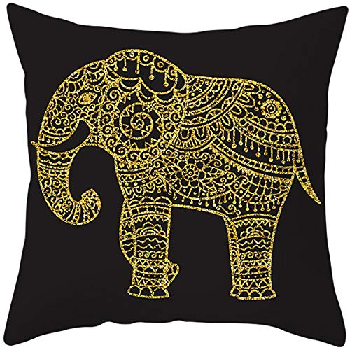 Almohada Decorativa con Relleno Elefante dorado Pillowcase+core,50x50cm Grande Rectangular Suave Cuadrado Cojines Ninos Throw Pillow Case para Sofá Coche Decoración para Hogar Fundas para Cojín B5463