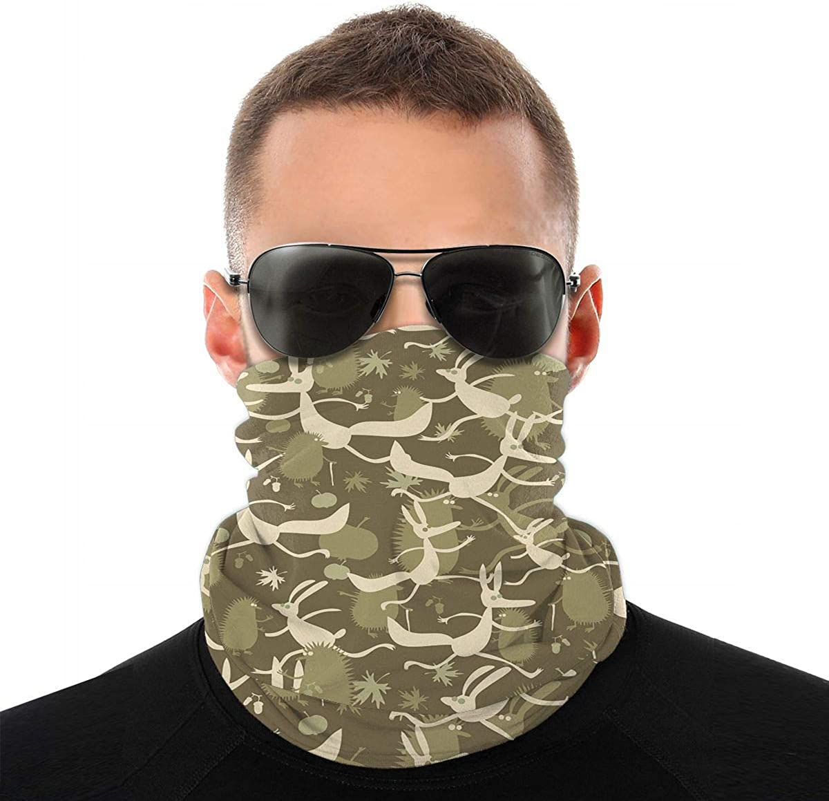KiuLoam Funny Childish Camouflage Seamless Face Mask Bandanas Neck Gaiter for Men and Women, Multifunction Headband Scarf for Dust, Outdoors, Sports