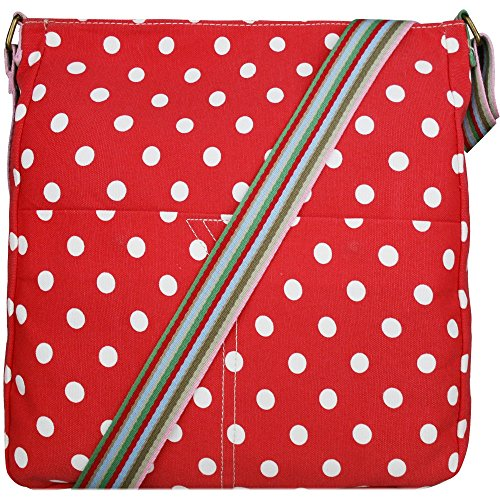 Miss Lulu , Damen Umhängetasche Polka Dot Red