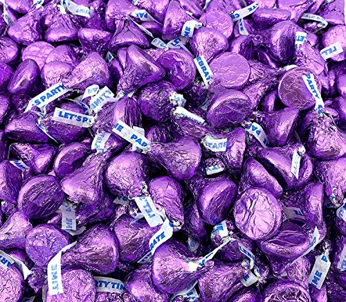 Sunny Island Bulk - Hershey's Kisses Milk Chocolate Party Candy, Purple Foil 2 Pounds