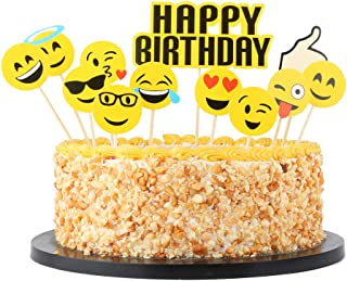 QIYNAO Happy Birthday Cake Topper Set,Party Cake Decoration Supplies (Emoji Small Yellow face)