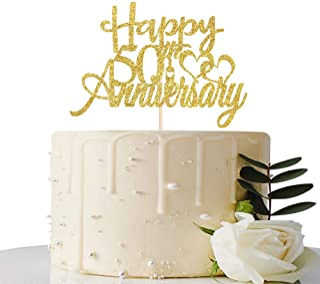 Maicaiffe Gold Glitter Happy 50th Anniversary Cake Topper - for 50th Wedding Anniversary / 50th Anniversary / 50th Birthda...