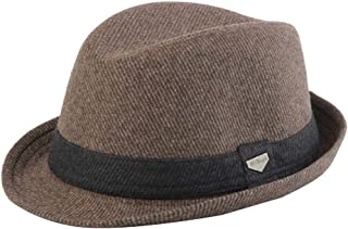Autumn and Winter Fedora Hat Wool Hat Men's Panama Hat Female Warm Hat WUXiaodanfhat (Color : Brown, Size : 56-59cm)