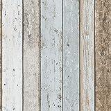 Papier peint pas cher effet bois usé | Papier peint marin bois bleu pastel & beige 8999-27 | Papier peint chambre enfant & adulte en ligne
