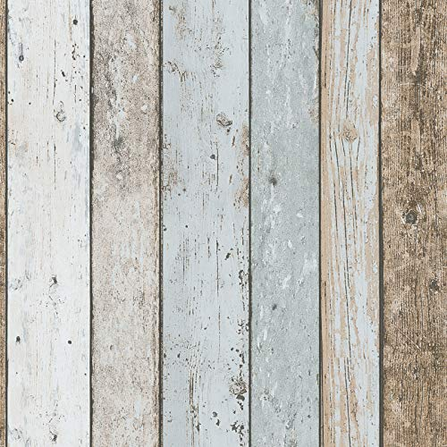 Holz-Tapete Shabby Chic   Vintage-Tapete beige hellblau 899927   Papiertapete Holzoptik 8999-27   Maritime Tapete für Schlafzimmer & Badezimmer!