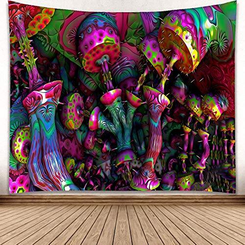 YISURE - Arazzo 3D a funghi, fantasia psichedelica colorata funghi arazzo da parete per camera da...