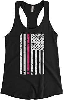 Cybertela Women's Thin Pink Line American Flag Racerback Tank Top