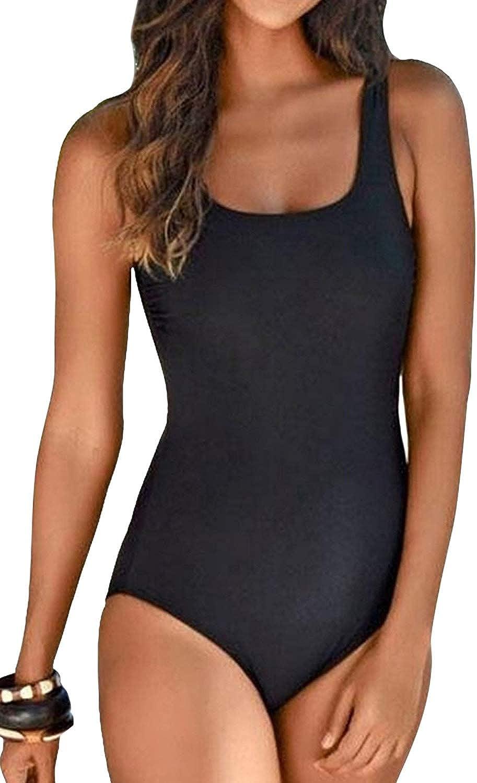 CILKOO Women's Crisscross One Piece Swimsuit Athletic Training Swimwear Vintage Bathing Suit(S-XXL)