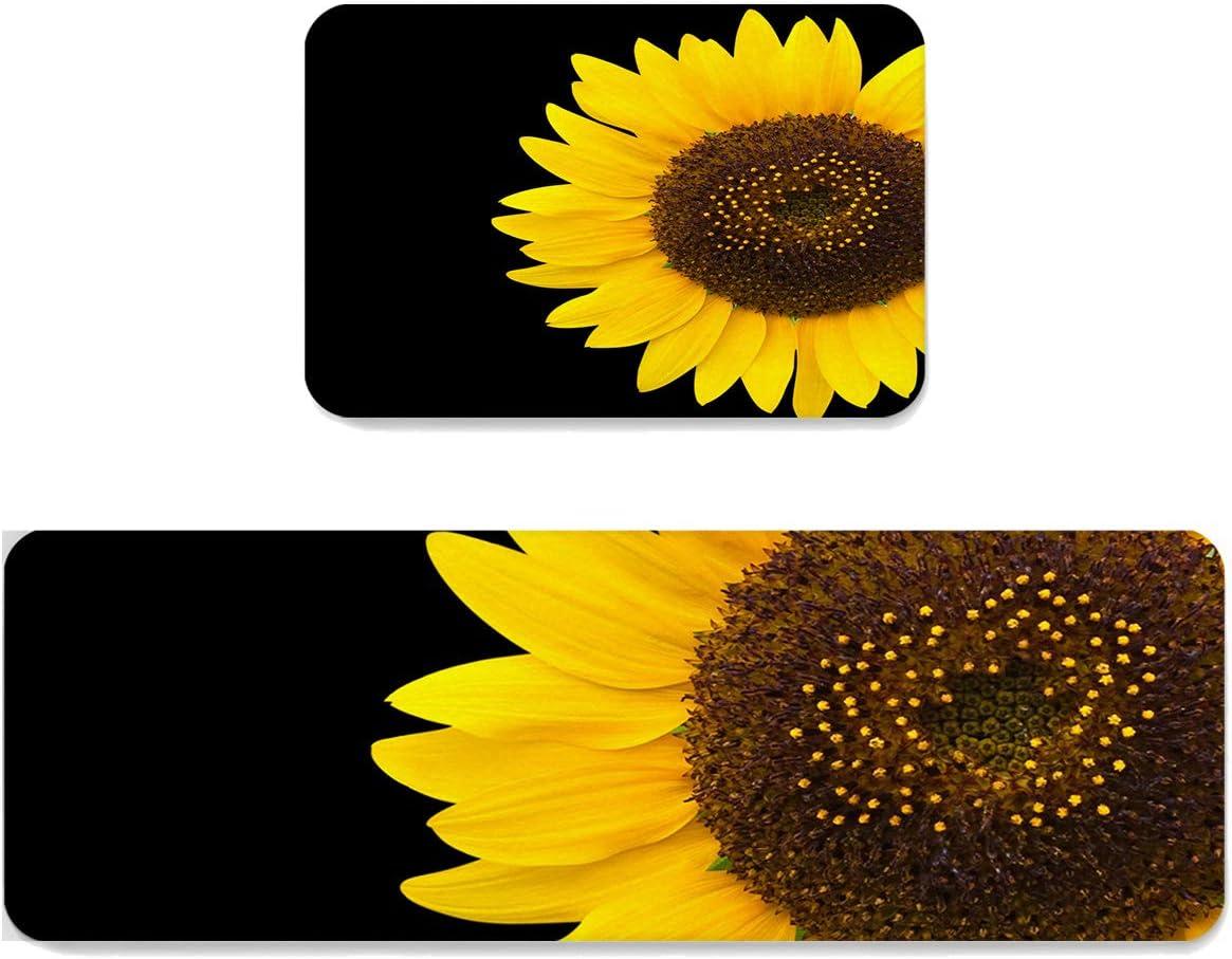SUN-Shine Anti Fatigue Kitchen Area Sunflower Pieces 配送員設置送料無料 Set 限定価格セール 2 Rug